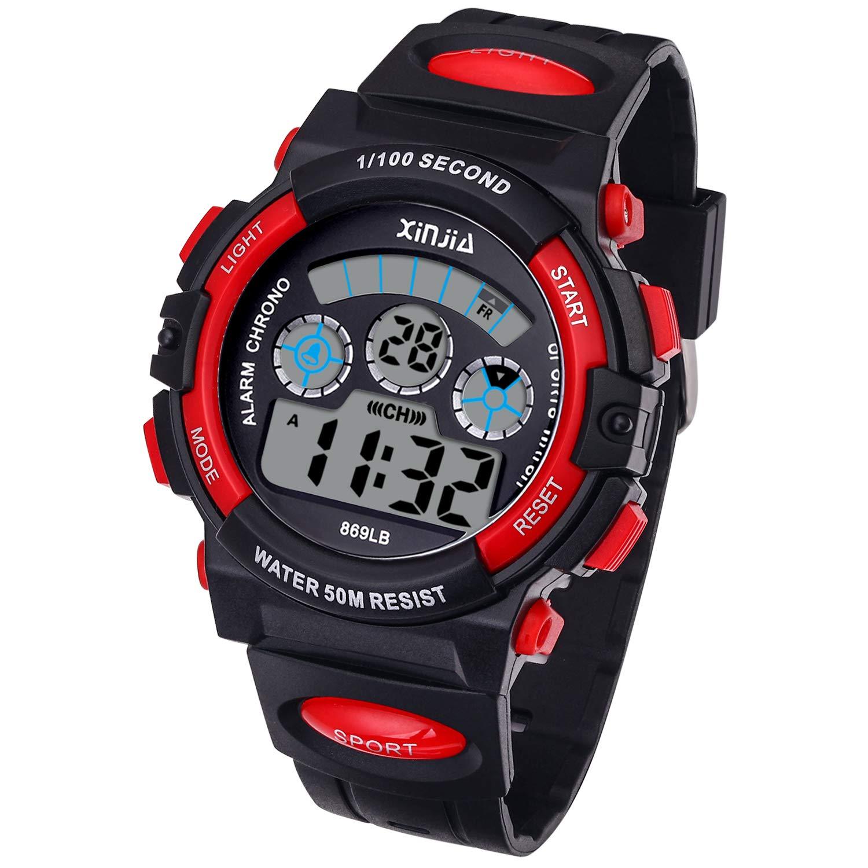 Reloj Digital para Niños,Niños Niñas 50M (5ATM) Impermeable 7 Colores LED Relojes Deportivos Multifuncionales para Exteriores con Alarma (Negro Rojo): ...
