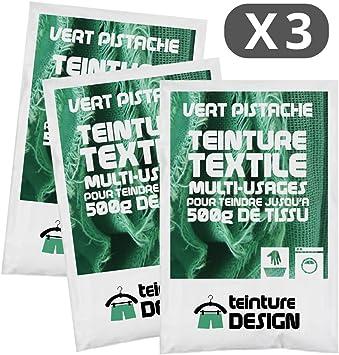 Lote de 3 bolsas de tinte textil – verde pistache – Tintes universales para ropa y tejidos naturales