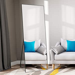 """self Full Length Floor Mirror 65""""×22"""" Metal Aluminum Alloy Frame Floor Mirror with Standing Holde Standing Hanging or Leaning Against Wall Mirror(Black)"""
