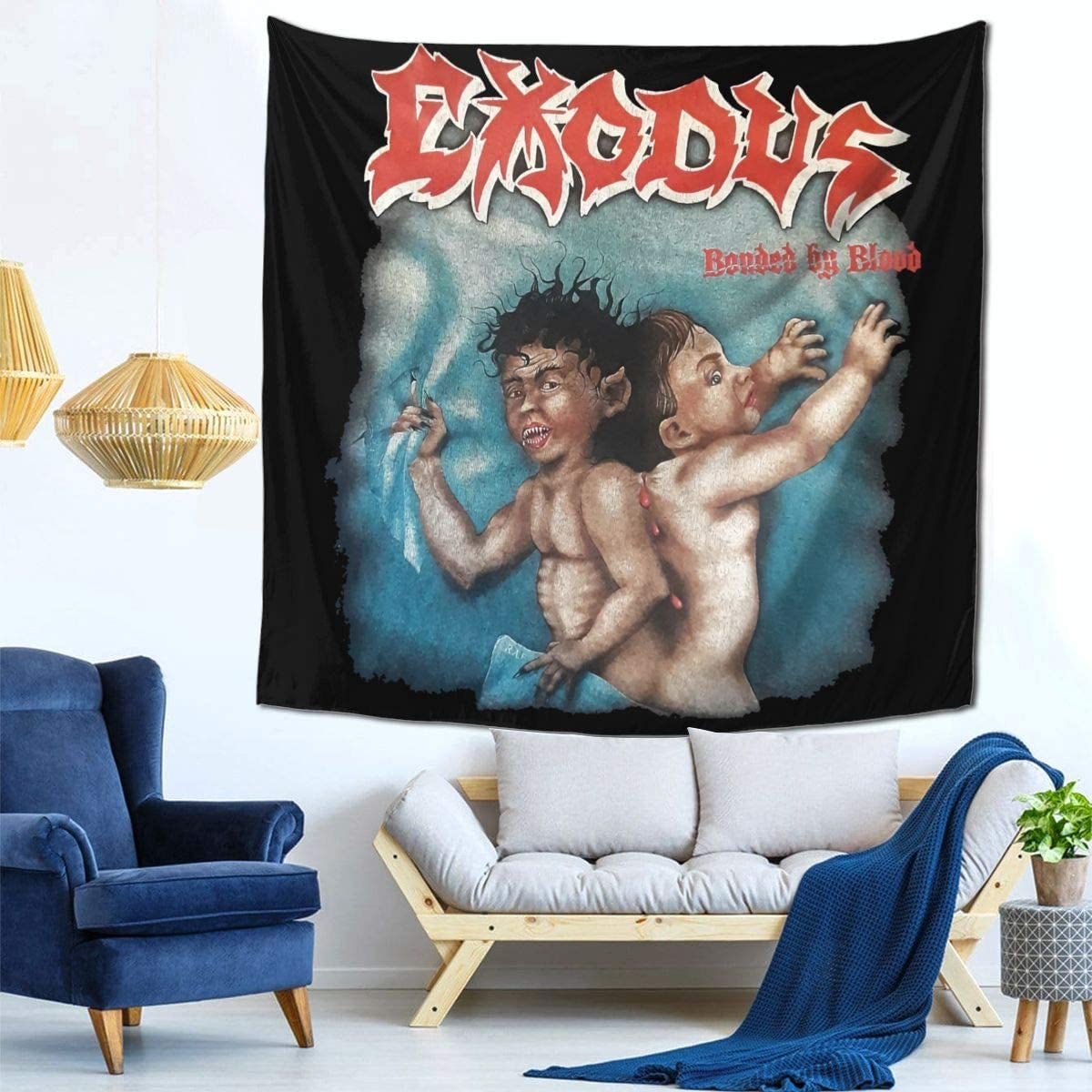 AsziSham Exodus Bonded by Blood Tapestry Wall Hanging Tapestries for Room 59 X 59 in