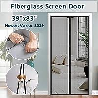 "IKSTAR Screen Door Magnetic Fiberglass Mesh Anti-Tear,Full Frame Velcro Hand Free Close Open Automatically Keep Bugs Out Dogs Kids Friendly,Door Cutain Size 39""x83"""