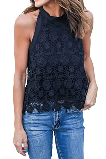 4bf91abbb8e Zonsaoja Women's Lace Halter Tank Tops Sleeveless Backless Casual Shirt  Black S