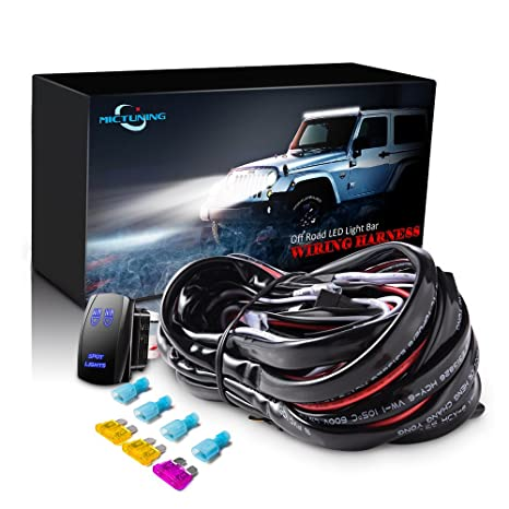 mictuning led light bar wiring harness fuse 40amp relay on off spot light rocker switch blue(2 lead) Single LED Wiring