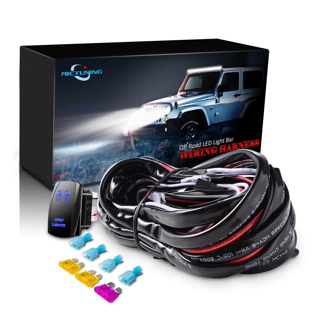MICTUNING LED Light Bar Wiring Harness Fuse 40Amp Relay ON-OFF spot light Rocker Switch Blue(2 Lead)