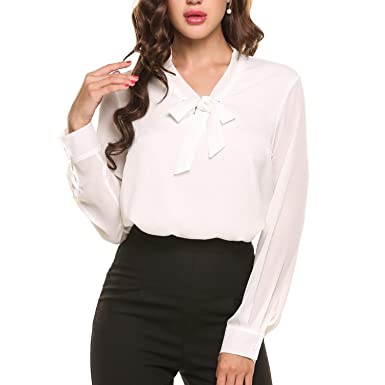275d3b3293c892 Women Casual V Neck Long Sleeve Chiffon Blouses Work Shirt Pull Over Tops  (S,