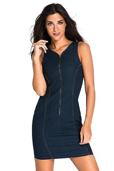 212a9a3c N-Gal V-Neck Front Zipper Denim Look Sleeveless Blue Bodycon Casual Mini  Dresses
