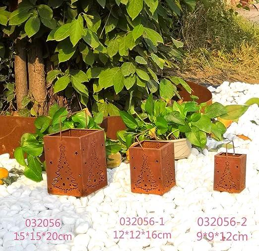 Edelrost Gartenlaterne Rost Kerzenlaterne Windlicht Kerzenhalter 032056 15*15*20