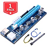 1 PCS PCI-E Riser Bitcoin Litecoin ETH Coin 6 PIN 1X to 16X Graphics Extension Ethereum ETH Mining Powered Riser Adapter Card 6-Pin PCI-E to SATA Power Cable GPU Riser Adapter 60cm USB 3.0
