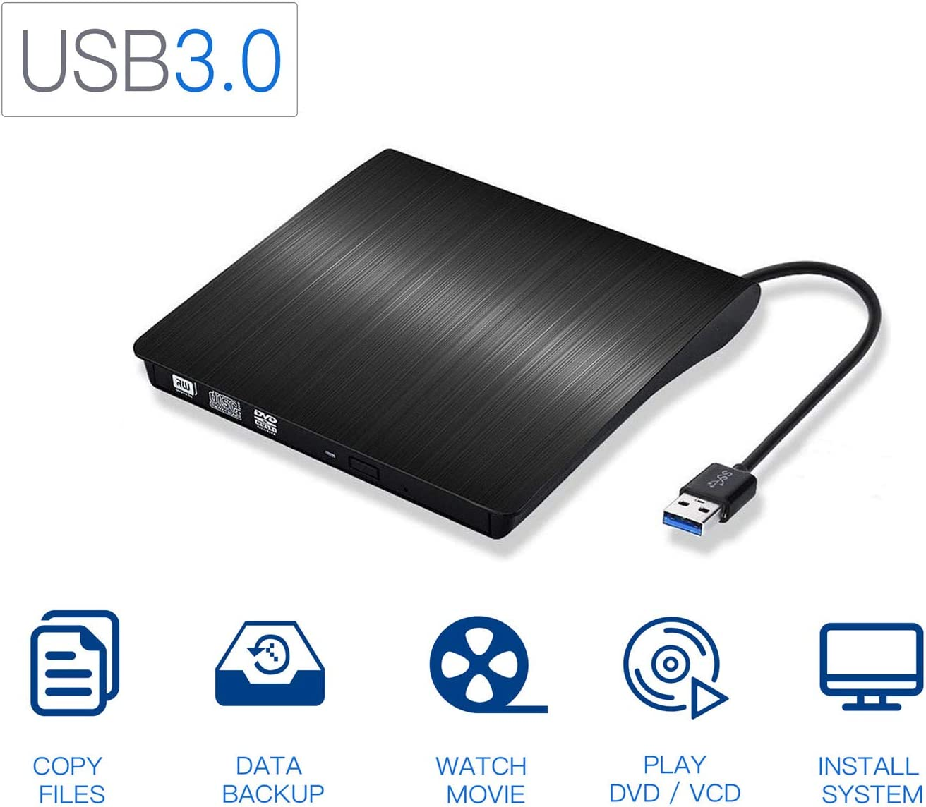 Xglysmyc USB 3.0 External CD/DVD Drive,Ultra-Thin Touch Portable High-Speed Data Transfer CD/DVD-RW Burner Player for Desktop Laptop Ultrabook Support Windows XP/7/8/10/Vista,Mac OS-Black