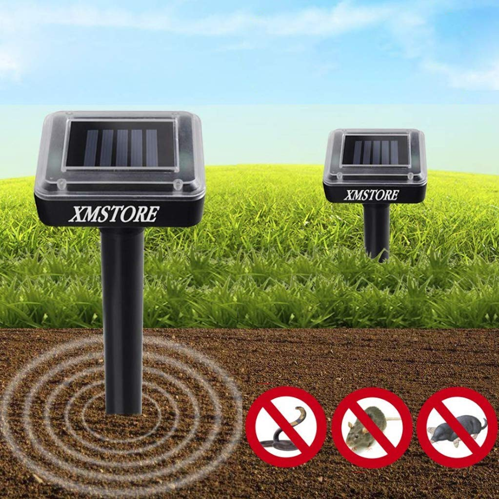 XMSTORE Upgrade Mole Repellent, 3rd Generation Ultrasonic Animal Repellent Solar Powered Gopher and Vole Chaser Humane Rodent Repellent