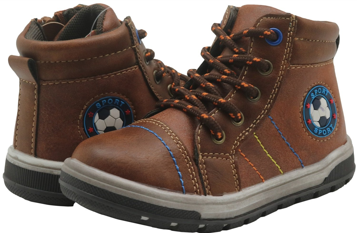 Non-Slip Boys Lace up Shoes Side Zipper Ankle Boots Toddler Durable Color : Brown , Size : 6 M US Toddler
