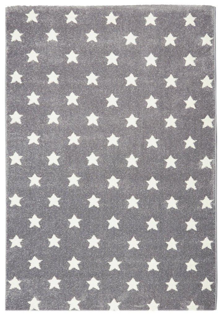 Livone Sternenteppich Kinderzimmer Baby Jugendteppich Kinderteppich mit Sternen in Silber grau Weiss Größe 120 x 170 cm