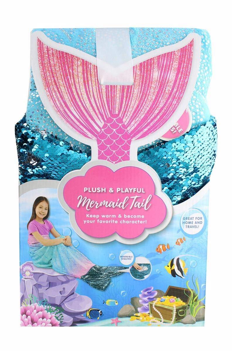 Jay Franco & Sons Plush & Playful 55-Inch Mermaid Tail Blanket - Blue