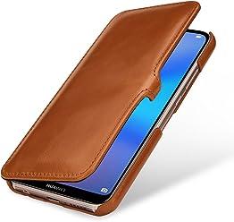 StilGut Book Type, Housse en Cuir pour Huawei P20 Lite. Etui de Protection en Cuir véritable pour Huawei P20 Lite à Ouverture latérale, Cognac avec Clip