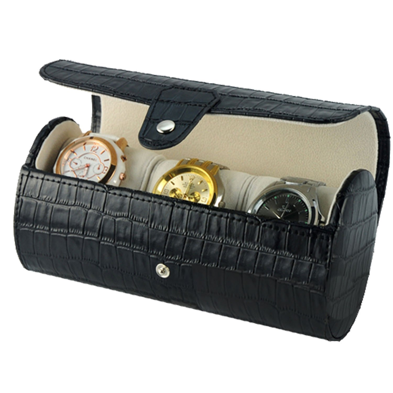 New Geschenk Schwarz Leder Krokodil-Korn Slot-Travel Storage Fall Tasche Watch Box