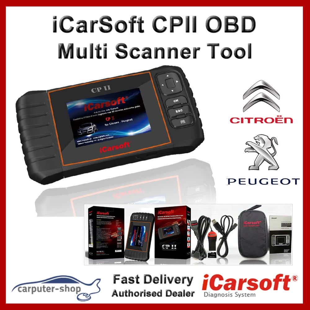 iCarsoft cpii Citroen/Peugeot Smart Diagnostic Scanner Tool SRS ABS Freno Motor Reset EBP SAS
