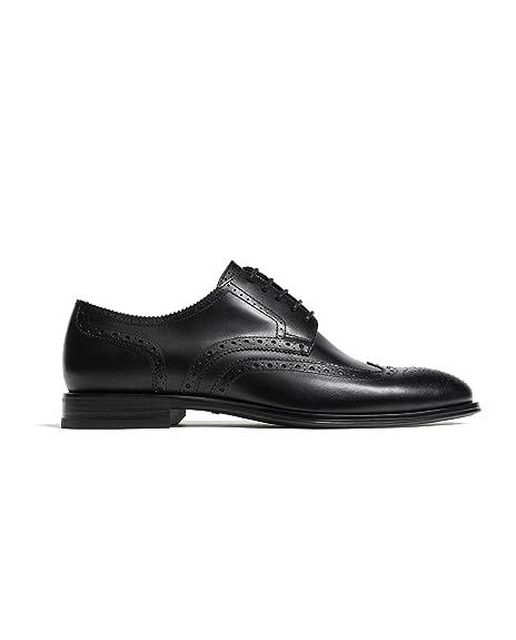 Massimo Dutti - Zapatos de Cordones de Otra Piel Hombre, Negro (Negro), 43 EU | 10 US | 9 UK: Amazon.es: Zapatos y complementos