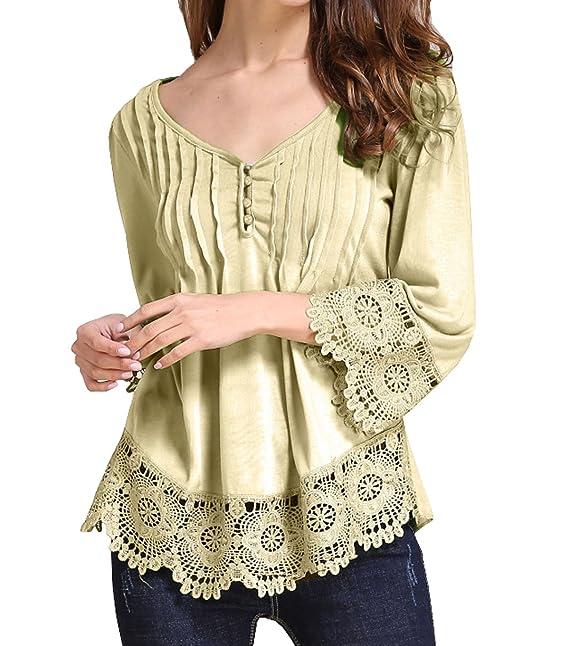 Jinglive Verano Mujer Blusa Casual Suelto Encaje Costura Blouses Tops Moda Cuello V Colores Lisos Camisetas