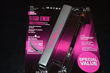Maybelline~blackest Black 930~illegal Length Fiber Extensions Mascara+eyeliner by Maybelline