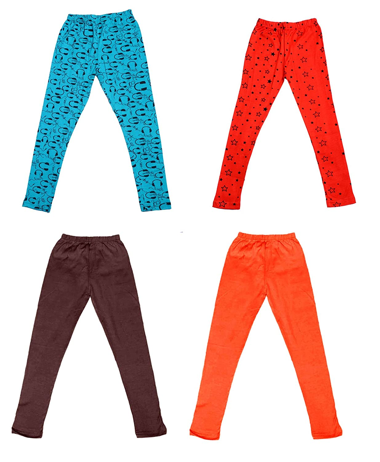 and 2 Cotton Printed Legging Pants /_Multicolor/_Size-4-5 Years/_71413141617-IW-P4-26 Indistar Girls 2 Cotton Solid Legging Pants Pack Of 4