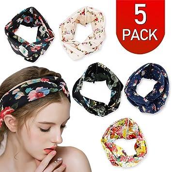 Amazon.com  Women Boho Hair Headband Head Bands Floral Style Criss ... 5c5d3f9e205