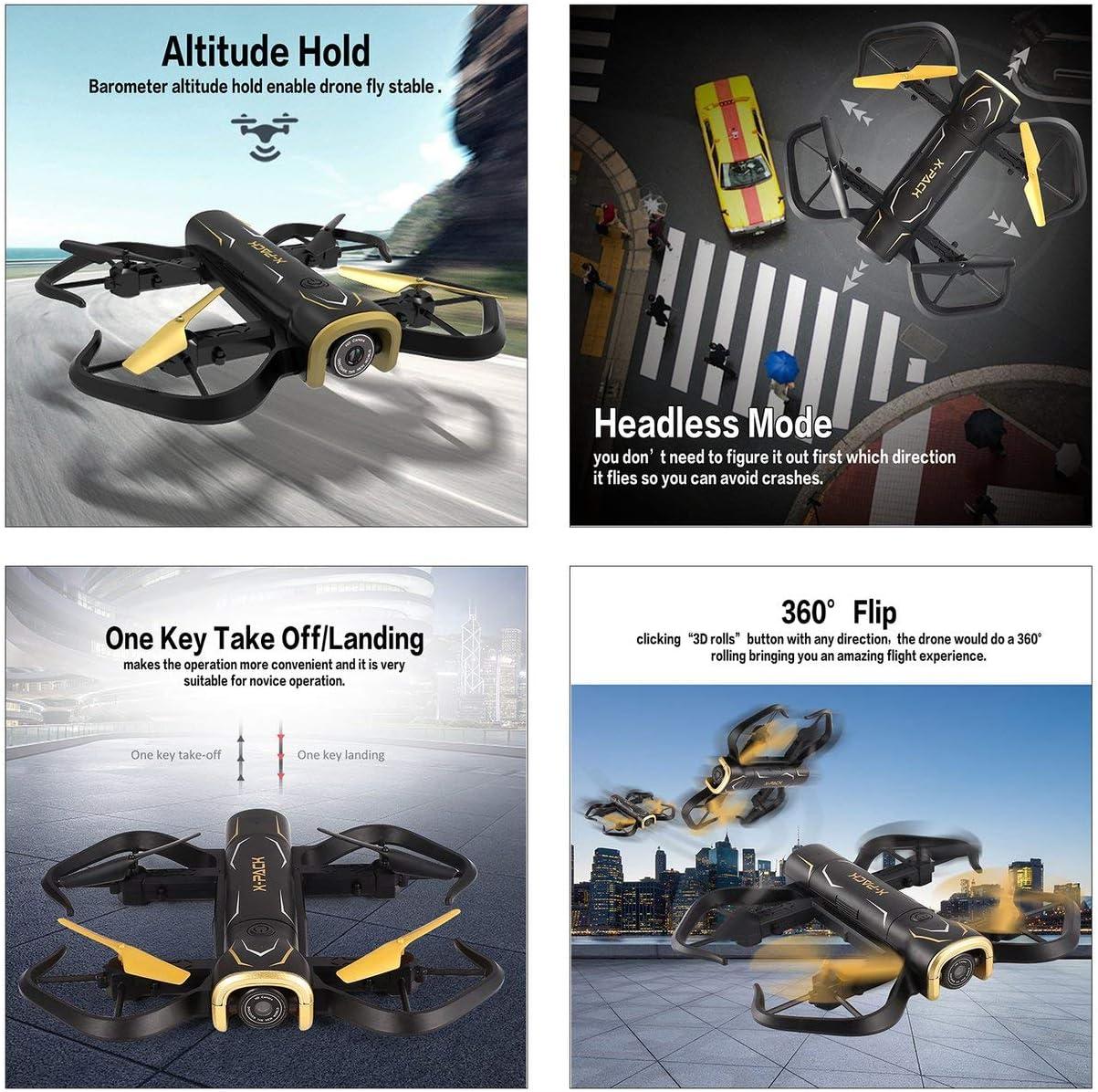 Mazur Attop X-PACK5 Drone Smart Quadcopter Pliable RC avec Altitude Hold Mode sans tête One Key Return One Key Take Off (Couleur: Noir): Amazon.es: Juguetes y juegos