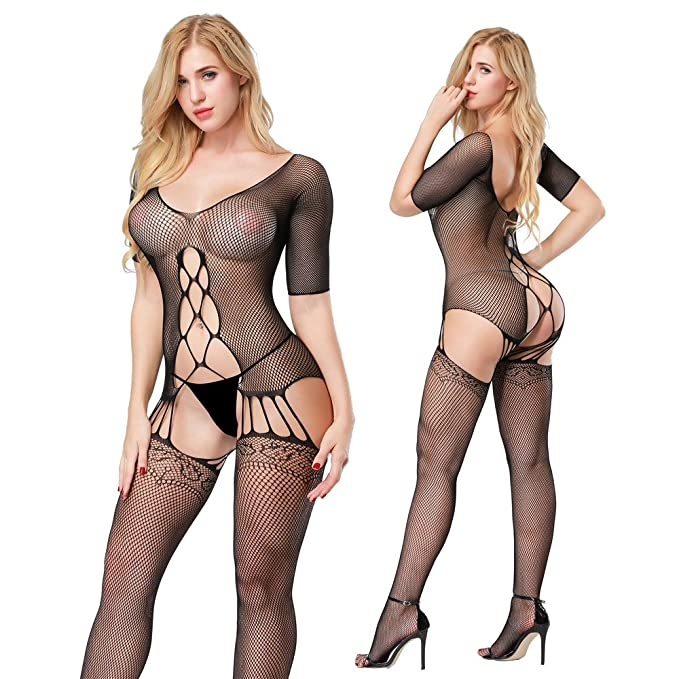 dc78a0c31 Image Unavailable. Image not available for. Color  JCHU Sexy Fishnet  Bodysuit Crotchless Lingerie Nightie Sheer Body Stocking for Women
