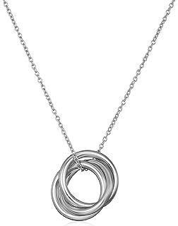 Amazon sterling silver three ring pendant necklace 18 jewelry sterling silver interlocking three ring pendant necklace 18 mozeypictures Choice Image
