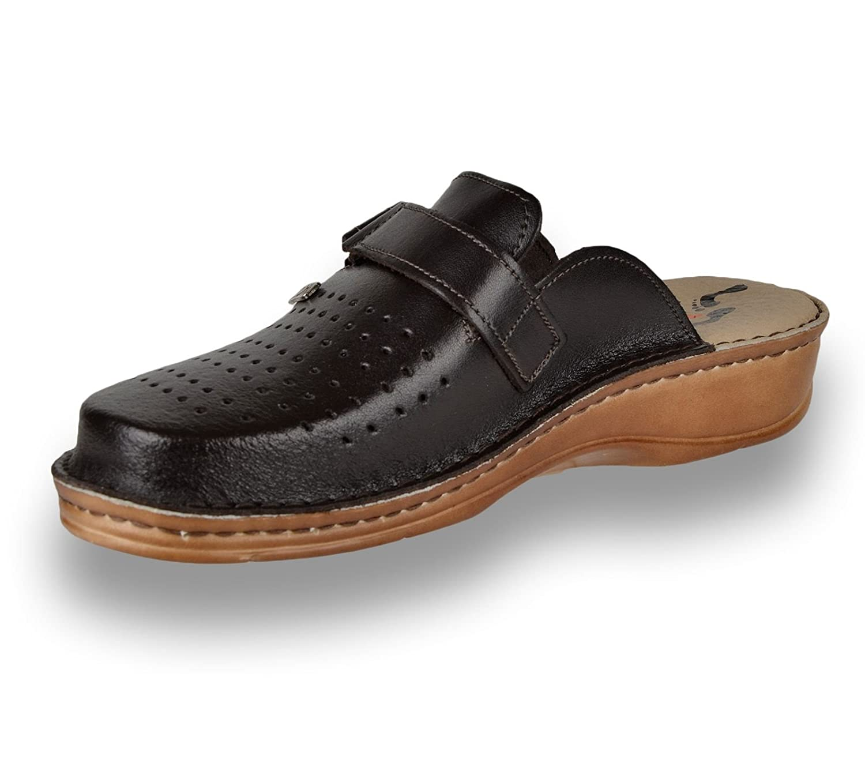 LEON V230 Zuecos Zapatos Zapatillas de Cuero para Hombre