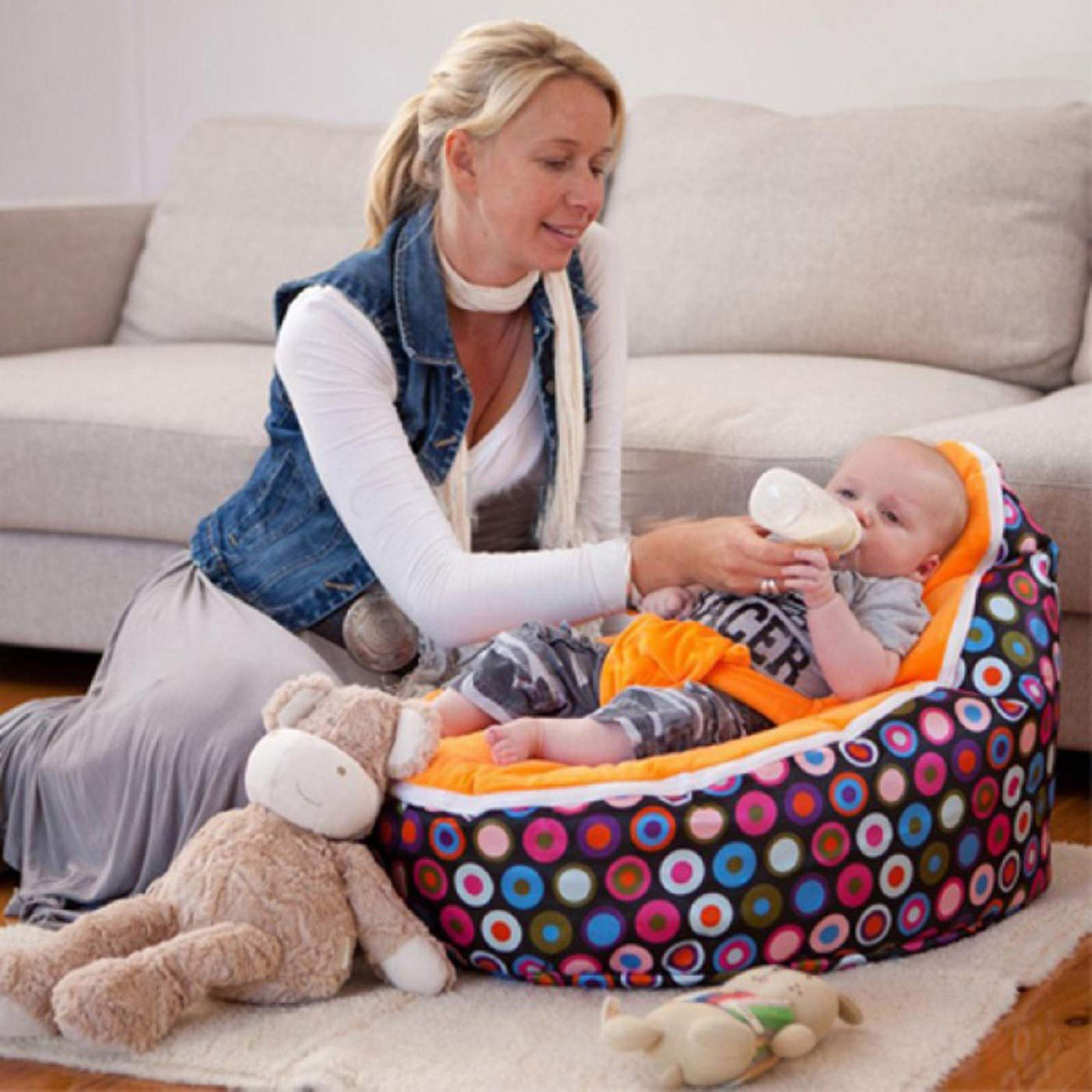 MZS Tec Baby Bean Bag, Baby Seat Nursing Bed Soft Fabric Sleeping Bag Toddler Lazy Causal Sofa (Pattern F)