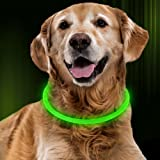 Bseen LED Dog Collar – Cuttable Water Resistant Glowing Dog Collar Light Up, Battery Powered Pet Necklace Loop for Small, Medium, Large Dogs