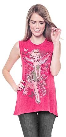 9df7ec76 Disney Tinkerbell Vintage Sketch Juniors Fashion Tank Top, Pink (Small / 3/5