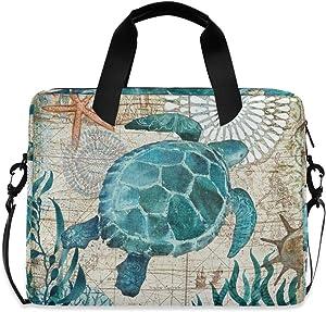 MAHU Laptop Case Bag Vintage Map Ocean Sea Turtle Laptop Sleeves Briefcase 13 14 15.6 inch Computer Messenger Bag with Handle Strap for Women Men Boys Girls