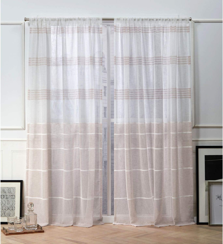 Nicole Miller Wexford Sheer Rod Pocket Top Curtain Panel, Blush, 54x84, 2 Piece