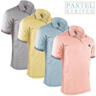 d2b456177 Albert Morris Striped Polo Shirts for Men (4 Pack, Small) Comfortable Short  Sleeve