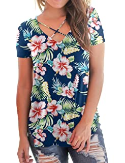 3f07071d32eb0b NIASHOT Women's T-Shirt Short Sleeve Floral Tees V Neck Criss Cross Summer  Tops