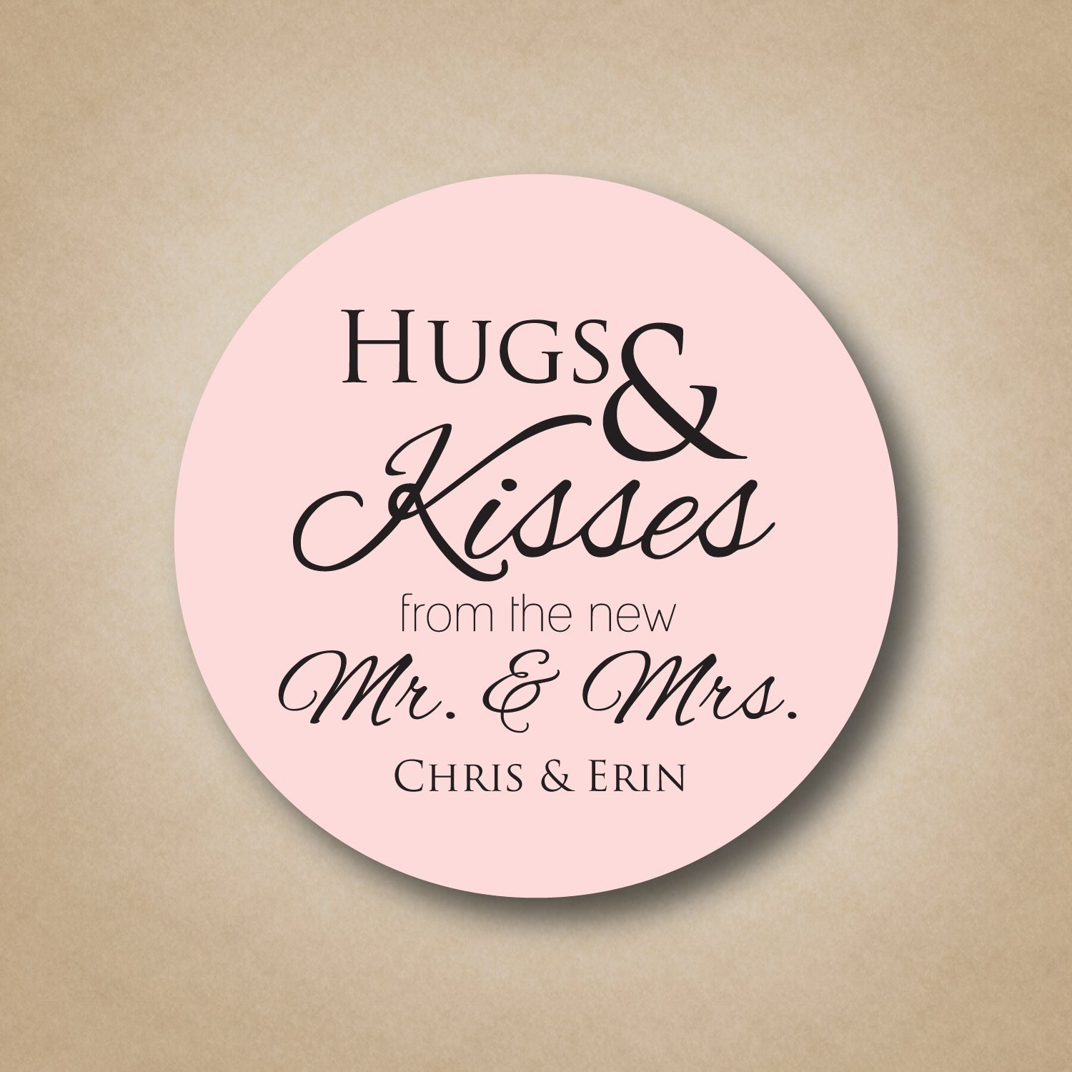 Hugs And Kisses From The New Mr Mrs Stickers