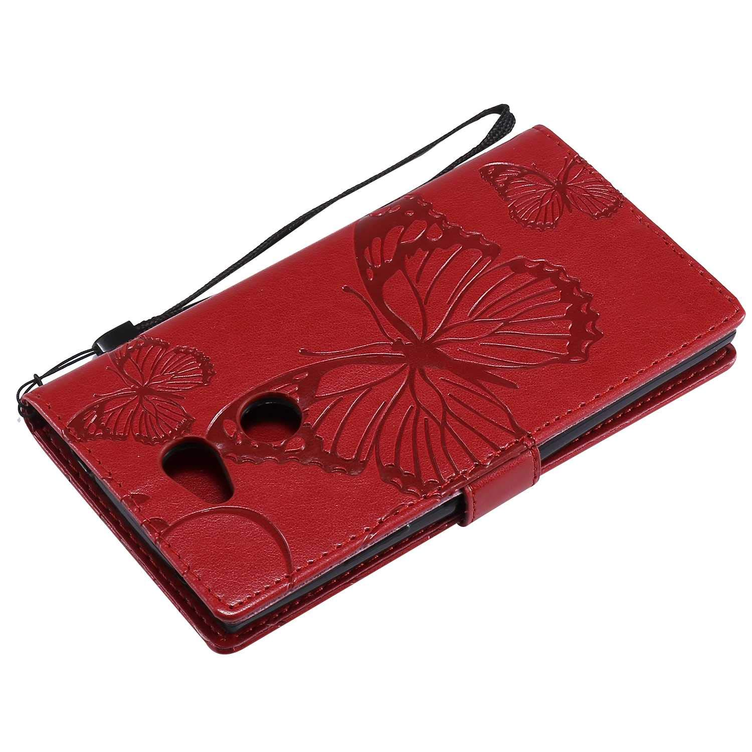 Sony Xperia L2 Case Cover Wallet Flip Case for Sony Xperia L2 Case -Rose Gold Drop Proof High Quality Pu Leather Card//ID Holder Bravoday