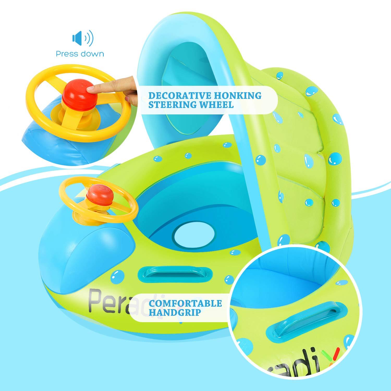 Peradix Flotador para Bebé con Asiento, Respaldo, Techo del sol, Barca Bebé de Piscina para 6 meses bebé (Verde): Amazon.es: Juguetes y juegos