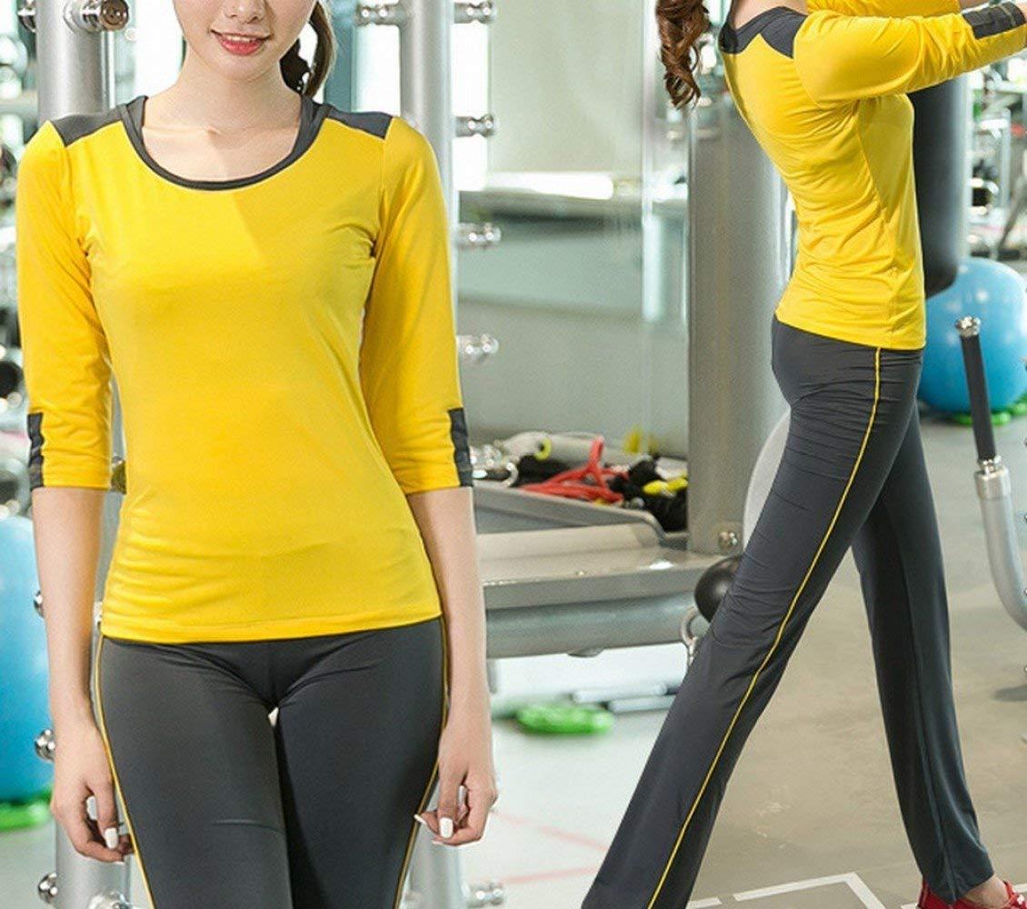 FUWUX Home Yoga Abbigliamento Sportivo Tuta Femminile Manica Sette Punti Tre Pezzi Corsa spee ry Sudore Traspirante Abbigliamento Fitness (Colore   giallo, Dimensione   M)