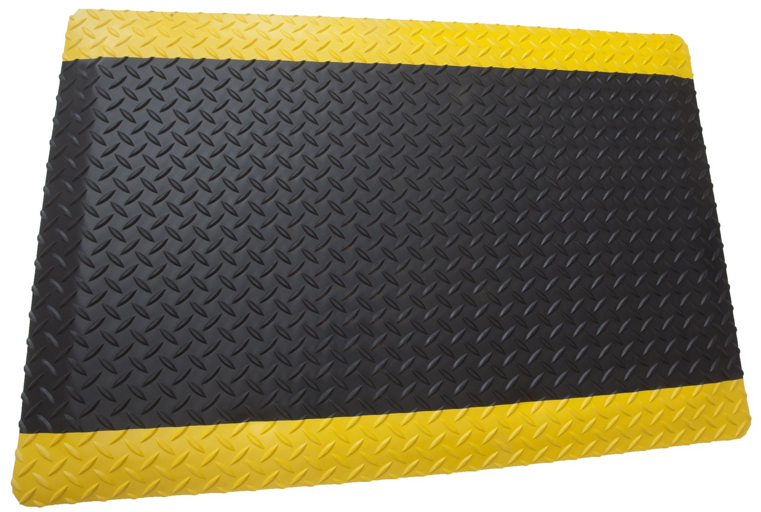 Rhino Mats DTT4872CDBY Diamond Plate Contract Duty Anti-Fatigue Mat with 2 Yellow Sides, 4' Width x 6' Length x 9/16'' Thickness, Solid Black