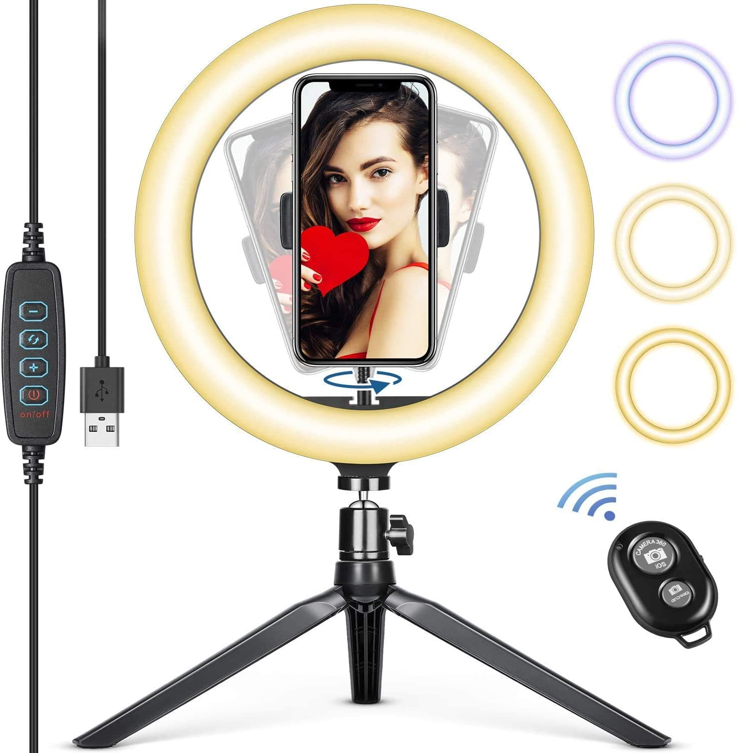10 inch Selfie Ring Light, Mini Ring Light with Stand Tripod & Flexible Tripod & Remote Control, Desktop Ring Light for Makeup, YouTube, Facebook, Selfie, Making Videos (10 inch)
