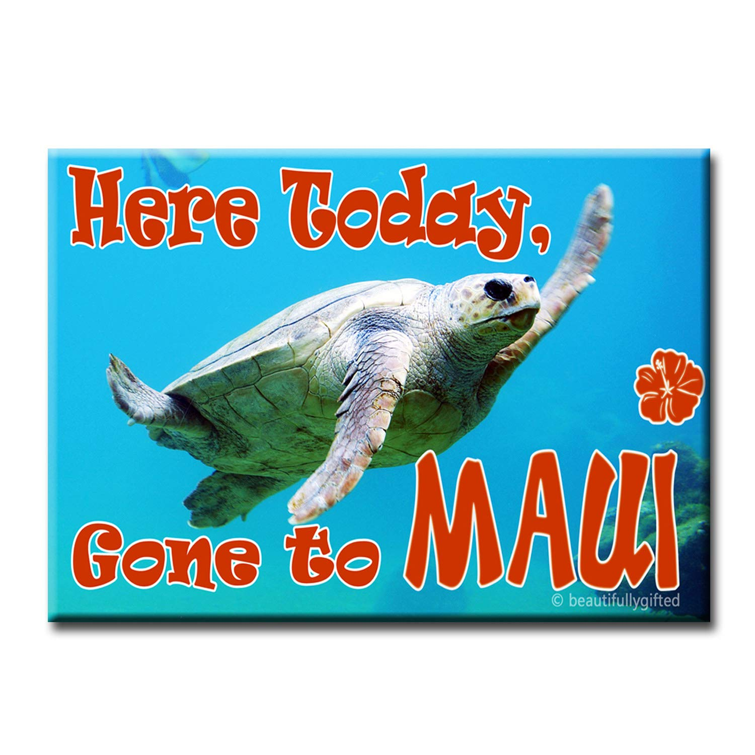 Here Today Gone to Maui - Hawaiian Souvenir Magnet   FUNNY HONU TURTLE SMILING & WAVING GOODBYE! - Aloha Decorative Keepsake Best for Refrigerator at Home or Office