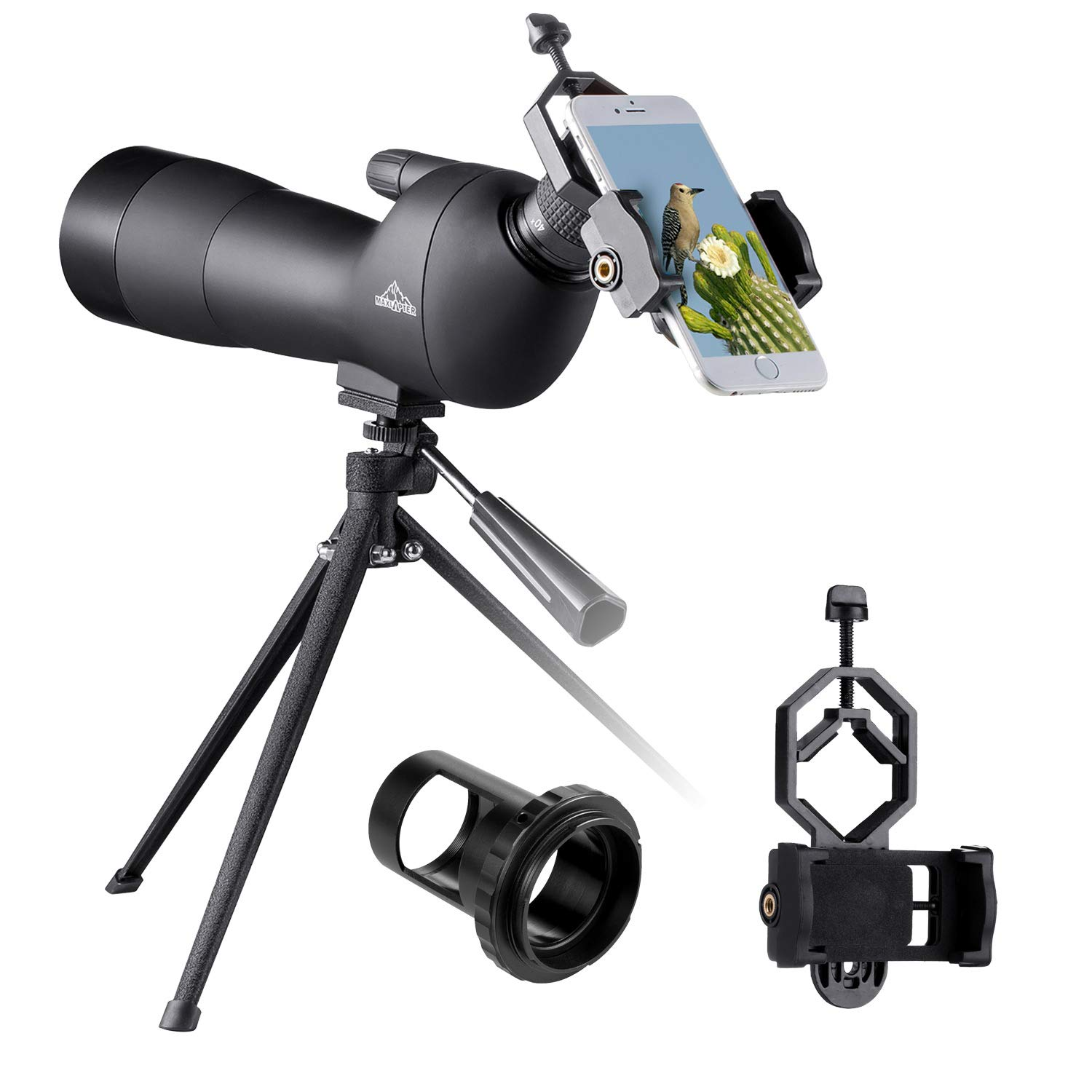 BEBANG 20-60x60 Spotting Scope for Bird Watching, Waterproof Zoom Scope with High Definition, FMC Coated Optical Lens, for Target Shooting, with a Tripod, Smartphone Adapter, Canon Camera Adapter by BEBANG