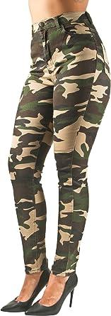 Women/'s Camouflage High Waist Light Denim Skinny Jeans