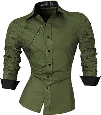 jeansian Men's Slim Fit Long Sleeves Casual Fashion Shirts 2028 at ...