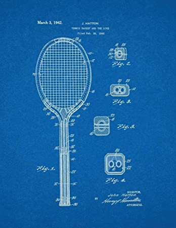 Print racket cosmecol com tennis racket patent print art poster blueprint 8 5 malvernweather Images