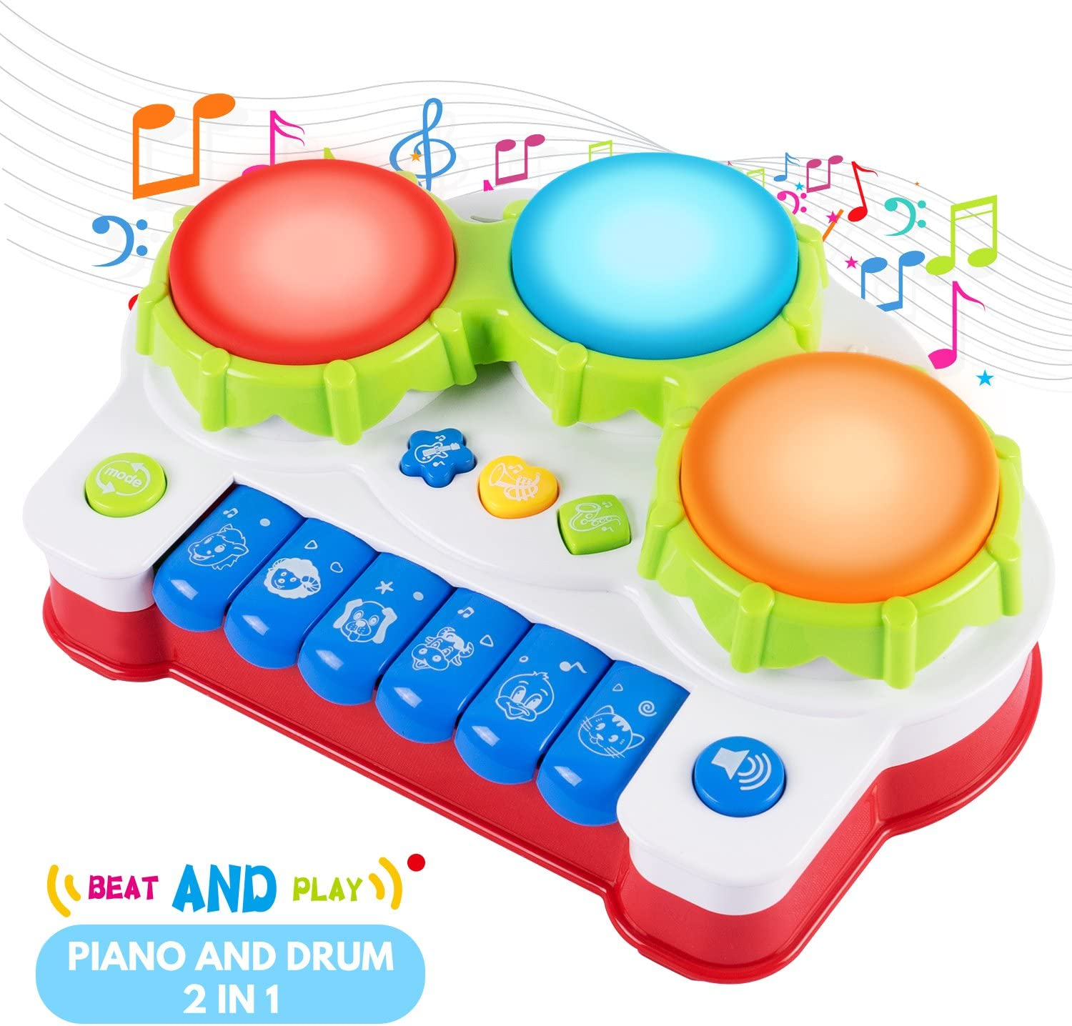 LIGHTENING DEAL BE QUICK – SGILE Early Education Piano & Drum Instrument with 4 Musical Modes and Light WAS £14.99 NOW £11.09 @ Amazon