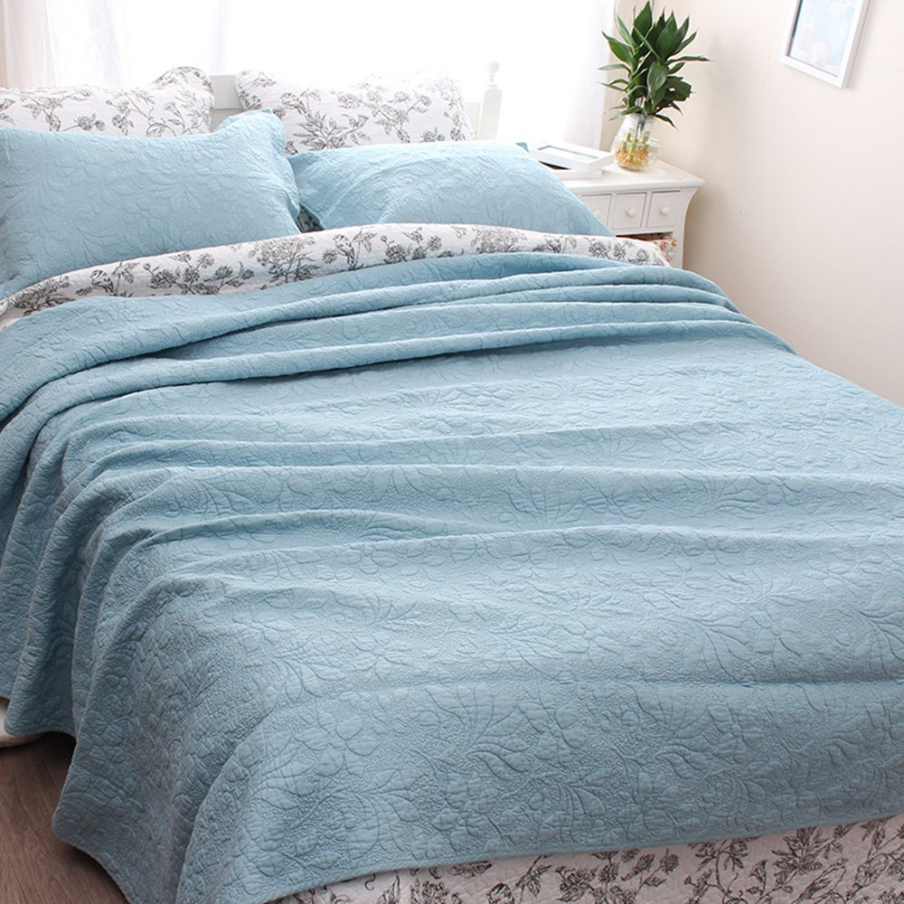 YaYi Solid Quilt Sets with Shams Reversible Soft 100% Cotton Quilted Bedspread and Coverlet Sets King Size(106''x98'') 3 Piece Bedding Collection Hypoallergenic All-season Blue by YaYi (Image #3)