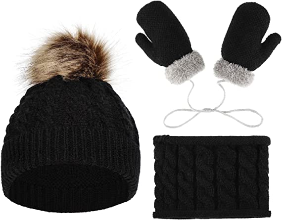 NEW Starting Out  Infant//Toddler Gloves//Mittens Pom Pom Hat Beanie Set A